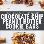 """Collage of cookie bars with text overlay """"chocolate chip peanut butter cookie bars"""""""