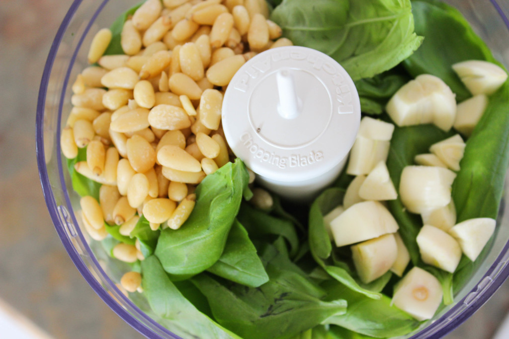 basil garlic and pine nuts in food processor