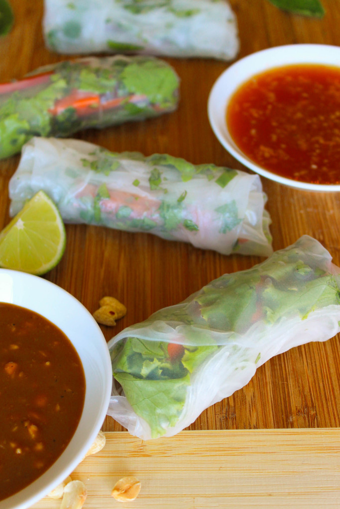 fresh spring rolls with dips