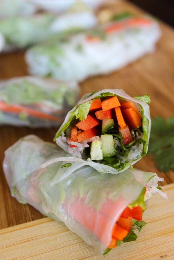 cut fresh spring rolls