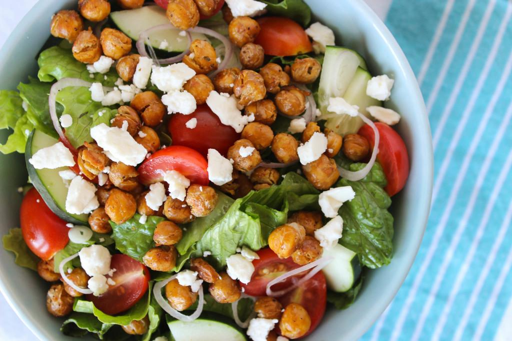 Roasted Chickpea Greek Salad with Lemon-Herb Dressing