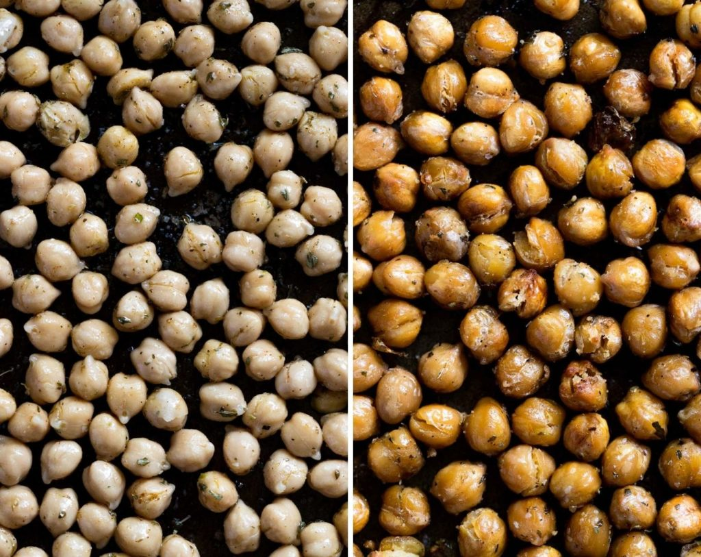 Roasted chickpeas before and after baking.