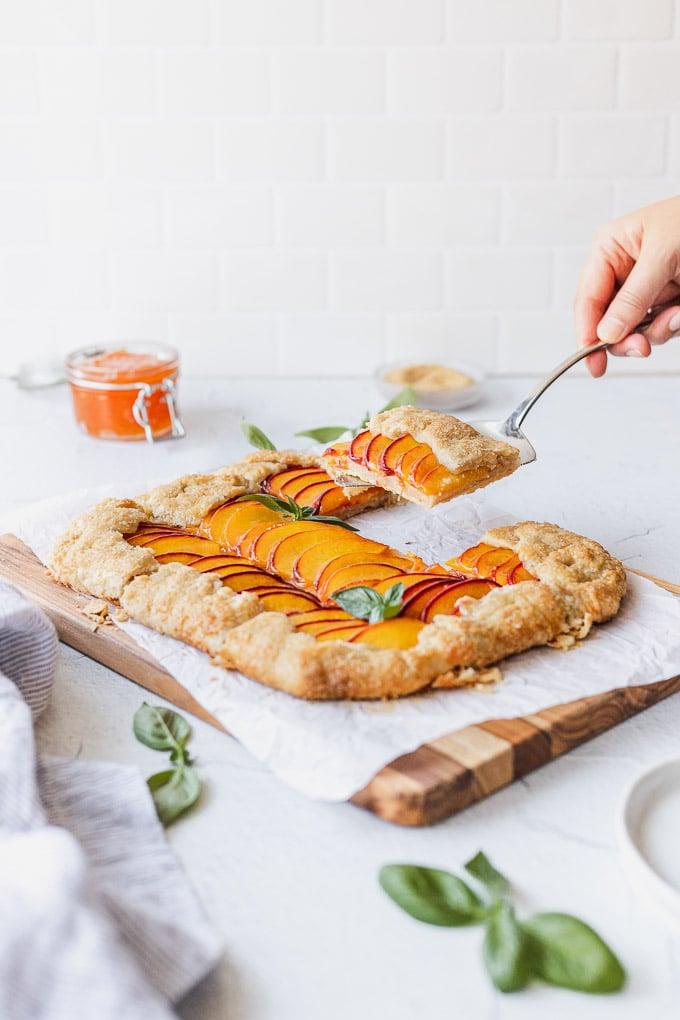 peach galette being served