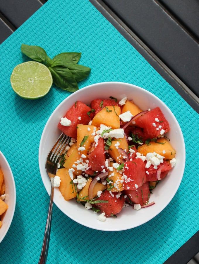 watermelon cantaloupe feta basil salad