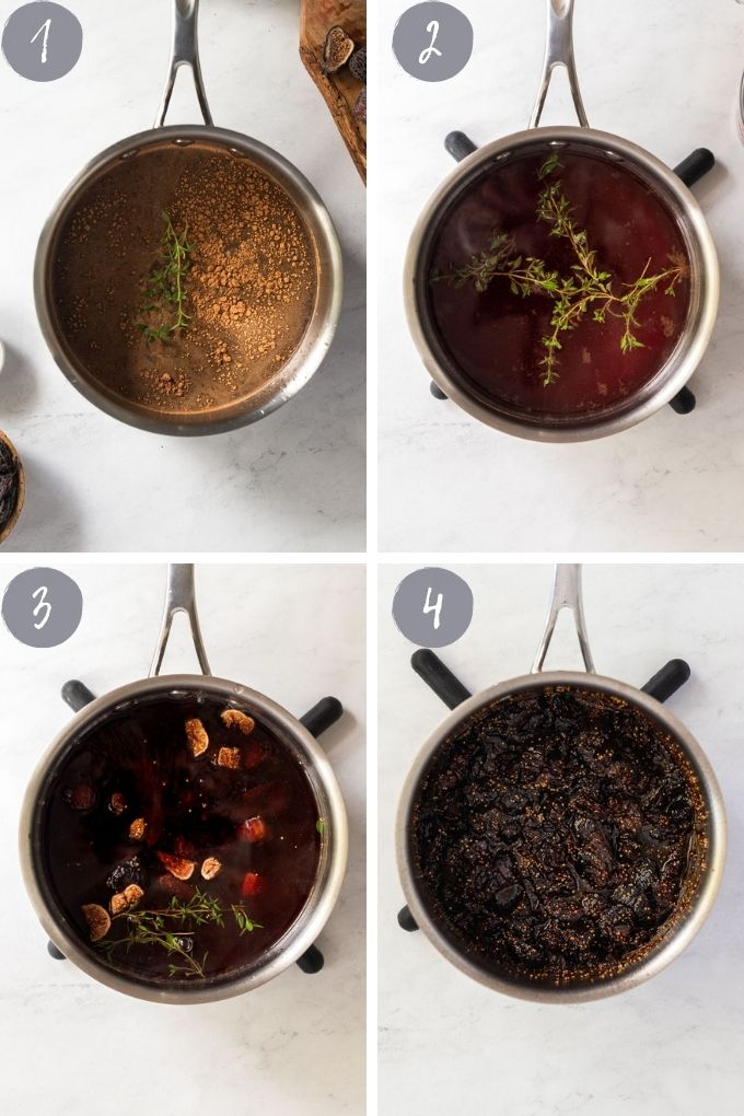 4 images of fig compote cooking in saucepan.
