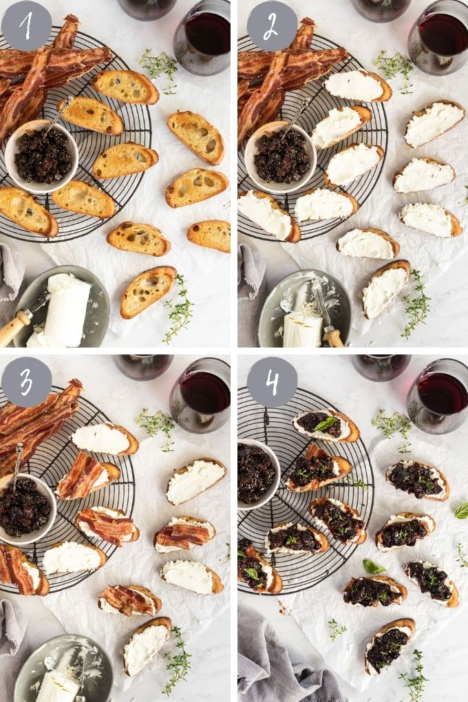 4 images assembling crostini on wire rack.