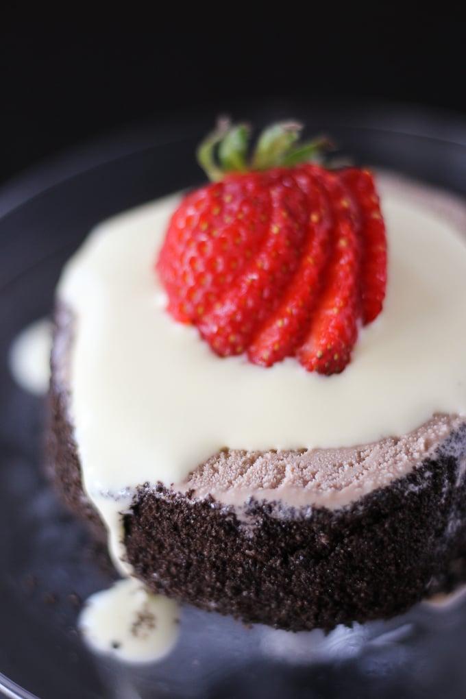Mini Ice Cream Cake with Banana Creme Anglaise
