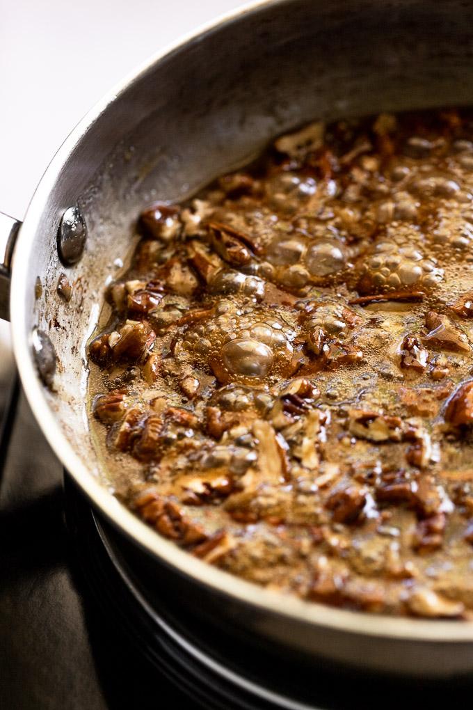 Maple pecan glaze in skillet.
