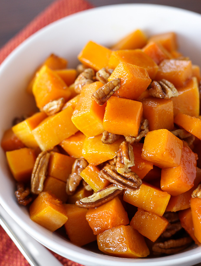 Butternut Squash with Maple Glaze and Pecans