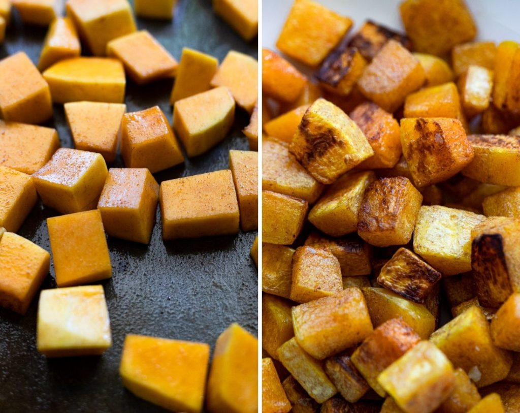 Two images before and after roasting squash.