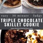triple chocolate skillet cookie pinterest image