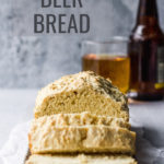 beer bread loaf by fork in the kitchen