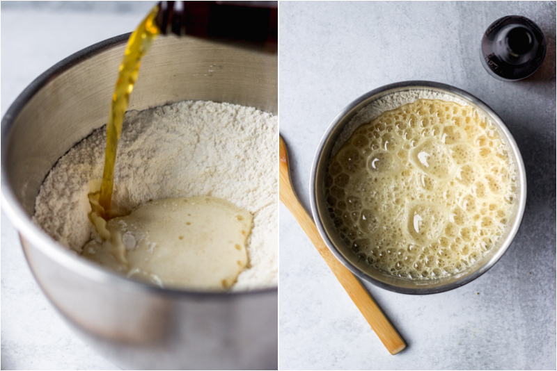 pouring beer into mixing bowl with flour for easy bread