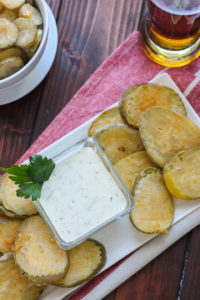 Beer Battered Fried Pickles -- light, crispy, and served with a buttermilk parsley sauce! // Fork in the Kitchen