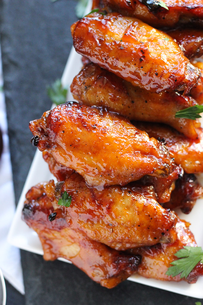 up close bourbon bbq wings in pile