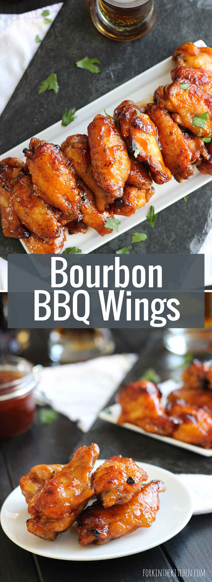 Bourbon BBQ Wings - perfect for summer cookouts or last minute get togethers! // Fork in the Kitchen