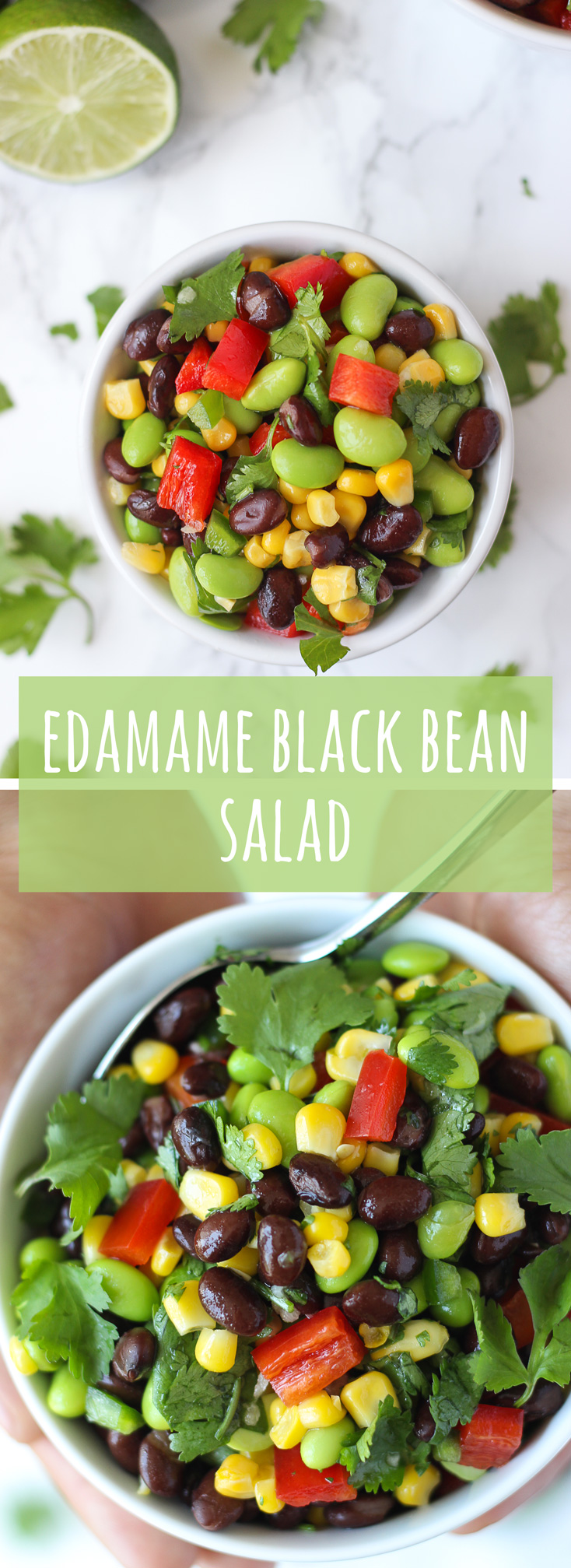 """Edamame Black Bean Salad – a satisfying blend of black beans, edamame, and corn, tossed with a light and refreshing lime dressing. The kind of salad that screams """"summer cookout"""". 