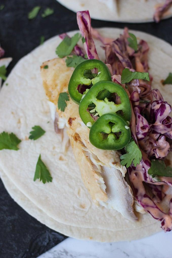 Mahi Mahi Tacos w/ Sriracha Slaw // Fork in the Kitchen