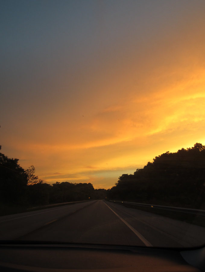 road trip sunset