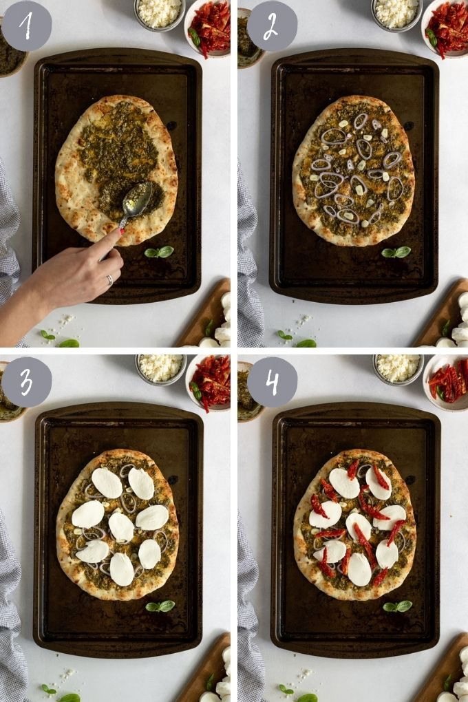 4 images layering on toppings on flatbread.