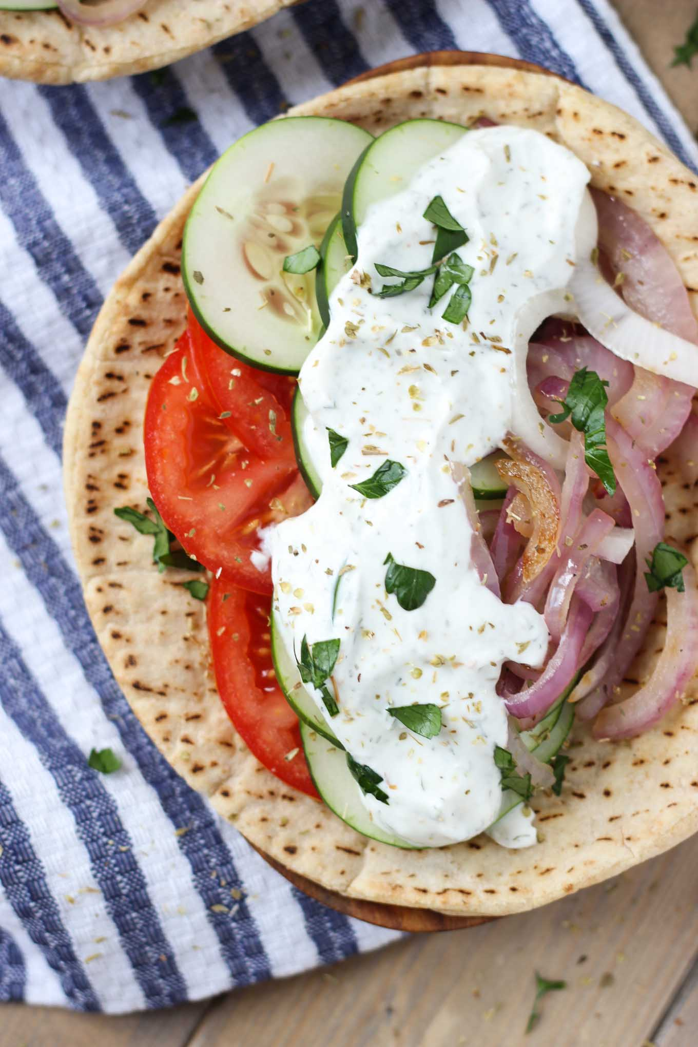 Easy Veggie Greek Pitas // Fork in the Kitchen