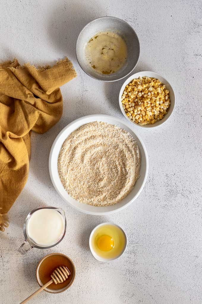 Bowls of ingredients for cornbread.