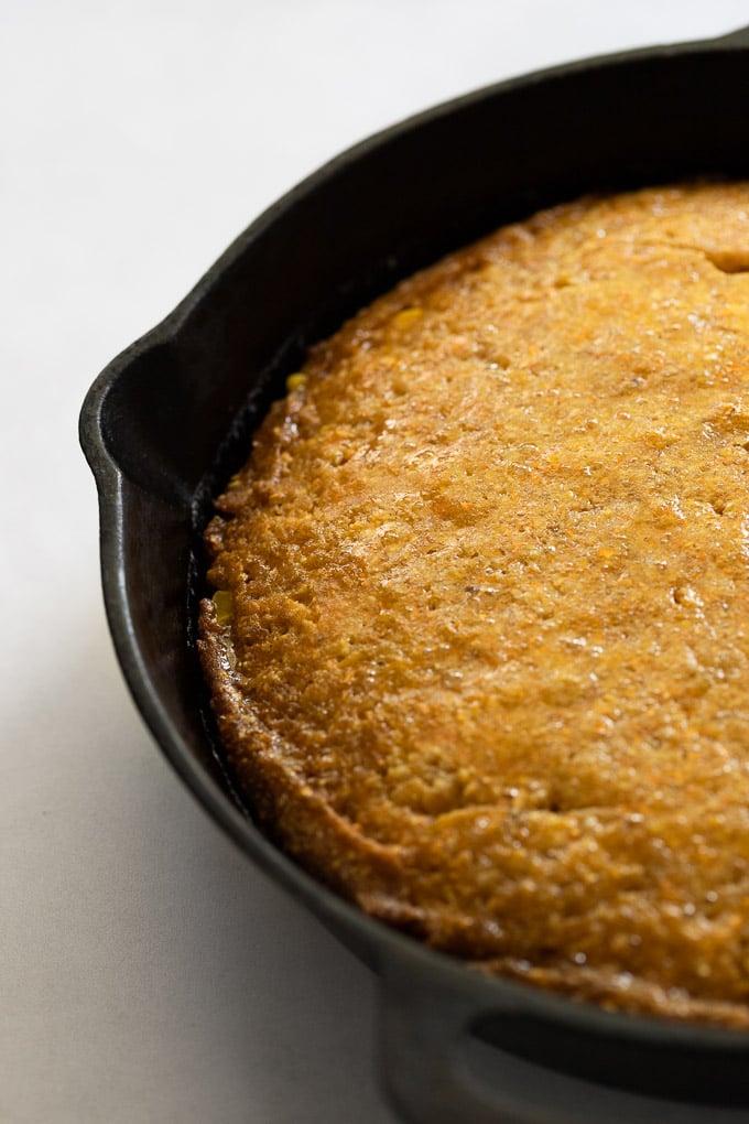 Cast-iron skillet cornbread after baking.