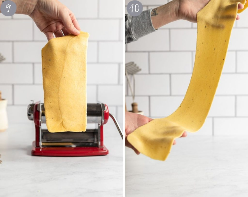 Pasta sheet after thickest setting vs pasta sheet after it's rolled out all the way.
