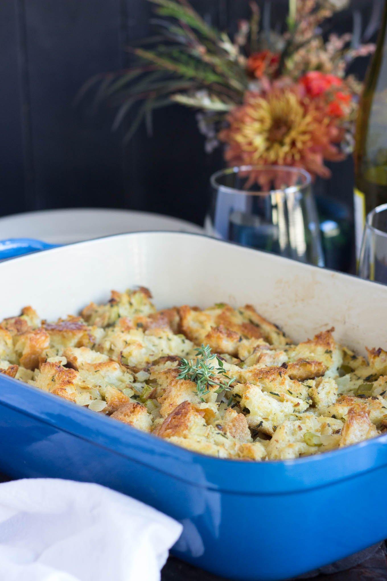Vegetarian Herbed Stuffing/Dressing in blue casserole dish