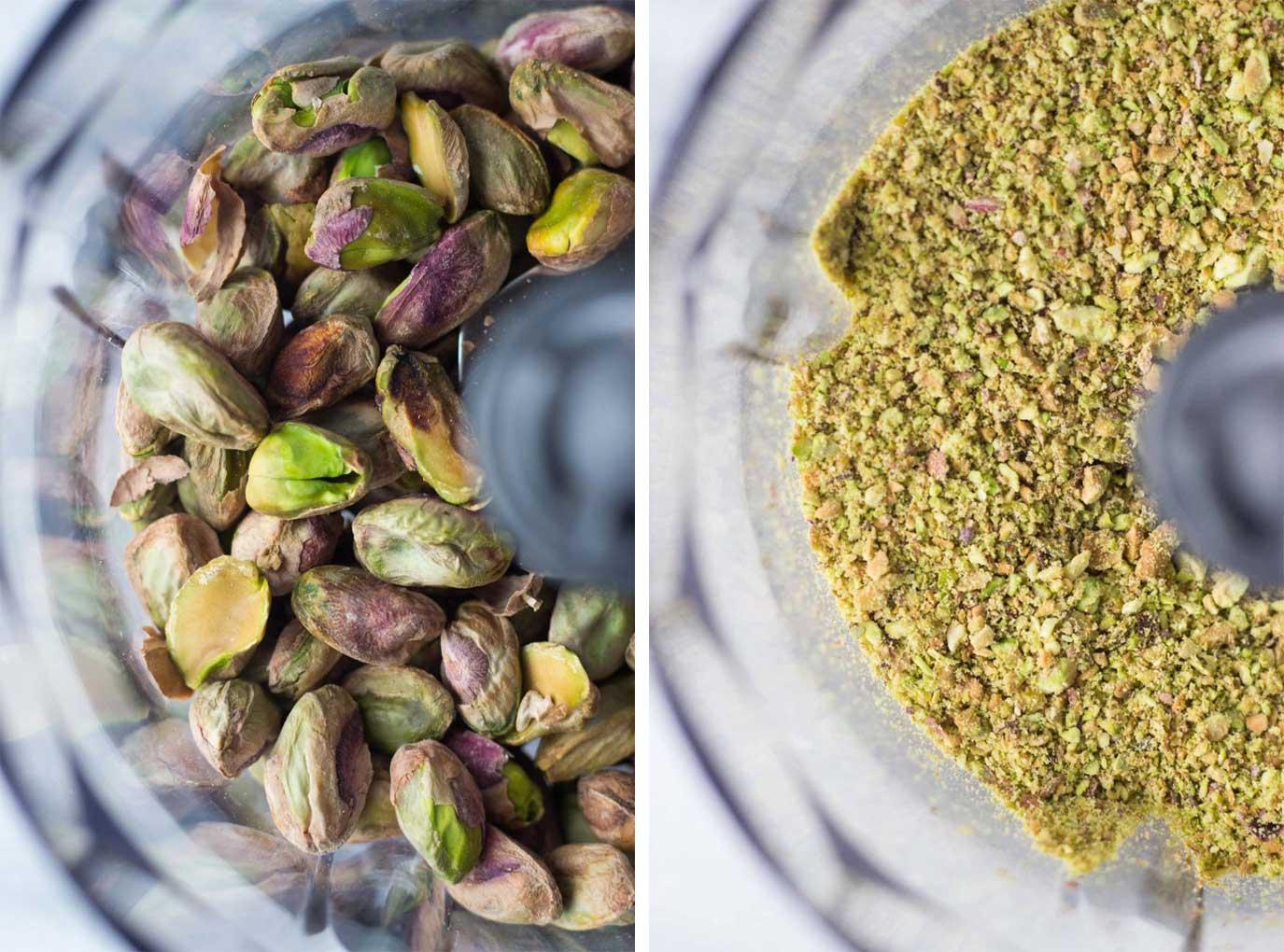 Pistachio Butter Cookies ingredients pistachios in food processor // Fork in the Kitchen