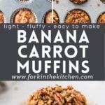 Banana carrot muffins pinterest image