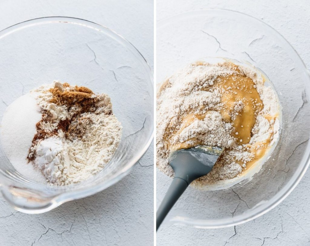 Dry ingredients in bowl and stirring them into wet ingredients.