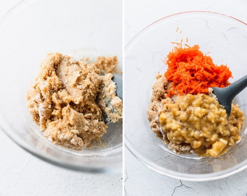 Muffin batter with and without shredded carrots and bananas.
