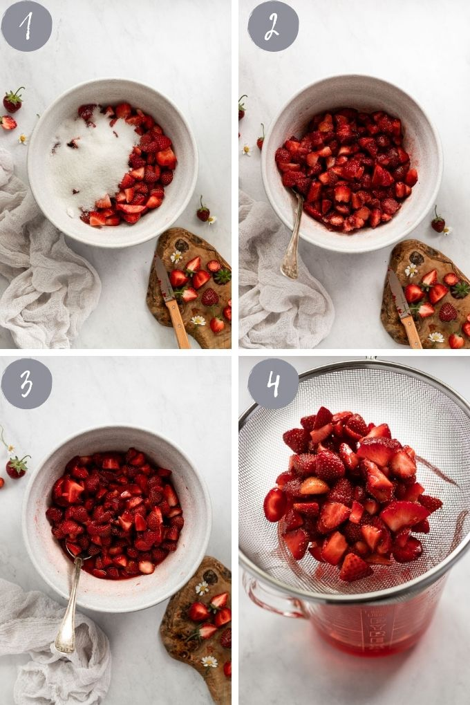 4 images of strawberries in bowl with sugar and draining.