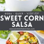 Fresh sweet corn salsa images with title
