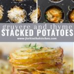 gruyere and thyme stacked potatoes pinterest image