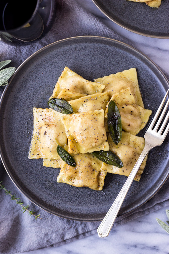 Roasted Butternut Squash Ravioli with Brown Butter Poppy Seed Sauce   Fork in the Kitchen