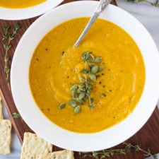 Butternut Squash Sweet Potato Soup - a creamy, comforting vegan soup, made in 30 minutes in one pot! Perfect for winter nights! | Fork in the Kitchen