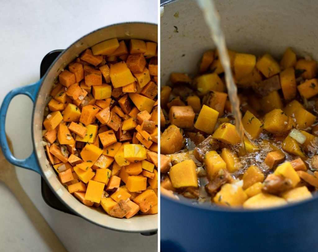 Squash and sweet potato in dutch oven, and pouring in stock.