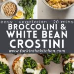 Broccolini and white bean pinterest image.