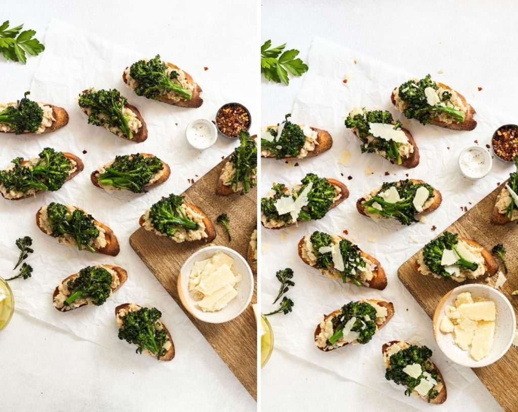 Side by side photos of crostini with broccoli then parmesan.