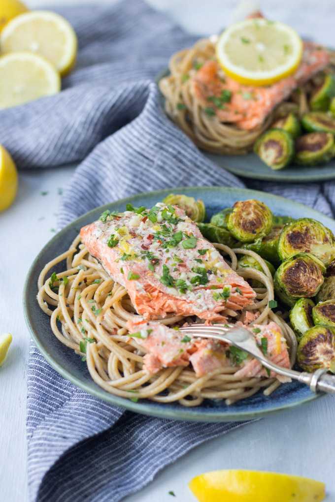 Garlic Lemon Butter Salmon Pasta | Fork in the Kitchen