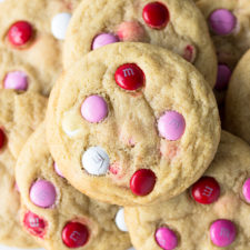 Soft M&M Cookies - the perfect balance of soft, slightly chewy cookies with the crunch of an M&M shell with melty chocolate inside. A quick, one bowl, small batch cookie recipe! | Fork in the Kitchen