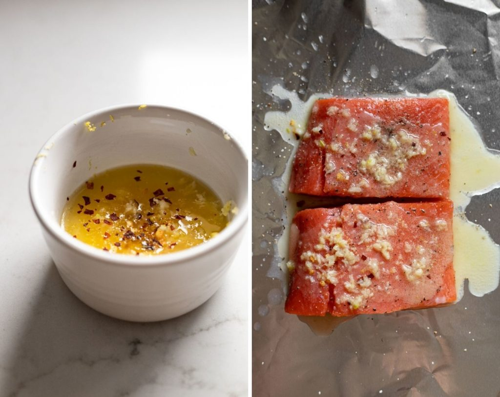 Side by side images: garlic butter and salmon with butter on top.