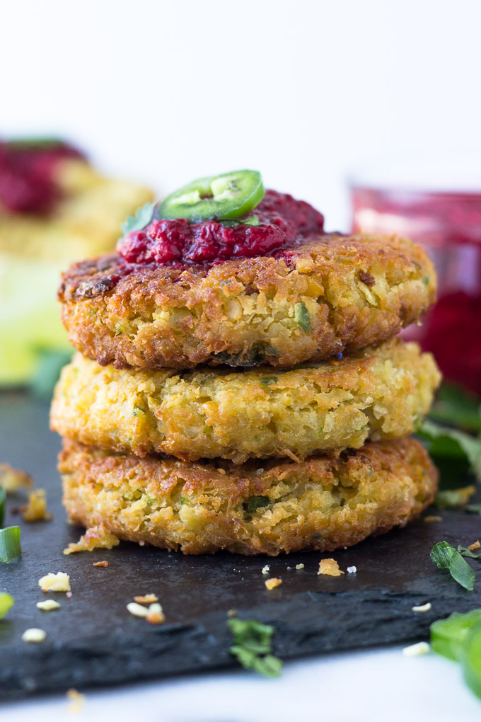 Chickpea Fritters with Jalapeño Raspberry Sauce - nutritious chickpea fritters served with a sweet, spicy kick raspberry sauce! Excellent as an appetizer or for dinner!   Fork in the Kitchen
