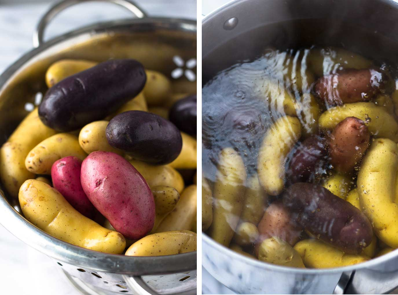 Crispy Garlic Roasted Fingerling Potatoes - An easy side dish ready in under 30 minutes - with crispy potato skins and a soft, melt-in-your-mouth interior, the combination of garlic butter and Fingerling potatoes is a winner! | Fork in the Kitchen