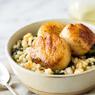 Parmesan Kale Risotto with Scallops for Two | Fork in the Kitchen