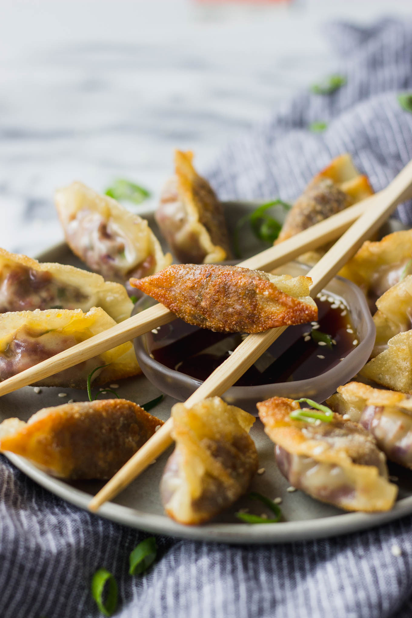 Vegetable Potstickers with Ponzu Sauce - homemade vegetarian potstickers that are easy to make, and full of flavor! Serve with homemade ponzu sauce for a gourmet appetizer! | Fork in the Kitchen
