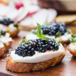 Blackberry Burrata Mint Crostini - the ultimate summer appetizer - easy and requires little prep work, full of fresh flavors, and pairs well with your favorite wine! | Fork in the Kitchen
