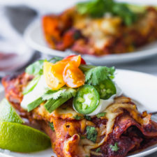 Double Bean and Corn Enchiladas - a flavorful vegetarian Mexican dinner with homemade enchilada sauce! | Fork in the Kitchen